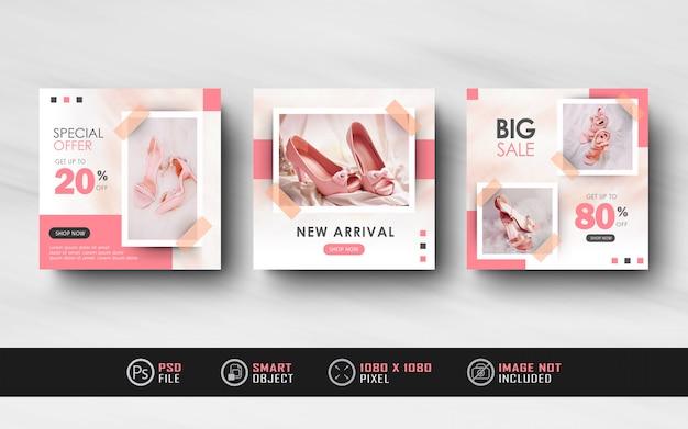 Minimalis rosa instagram feed social media post modelo banner feminino Psd Premium