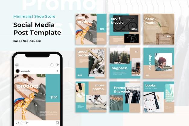Minimalista loja loja venda mídia social banner modelos instagram Psd Premium