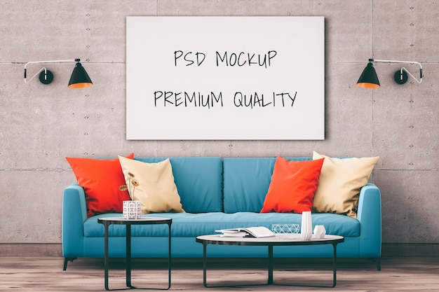Mock-se cartaz quadro interior sala fundo, render 3d Psd Premium