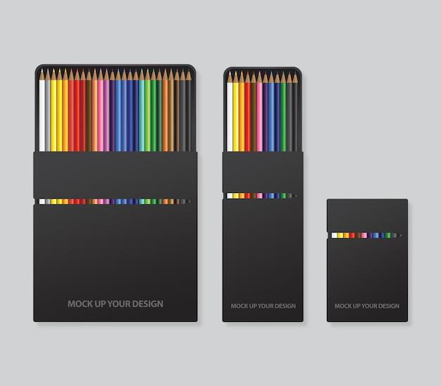 Mock-se modelo de design de embalagem de lápis de cor Psd Premium