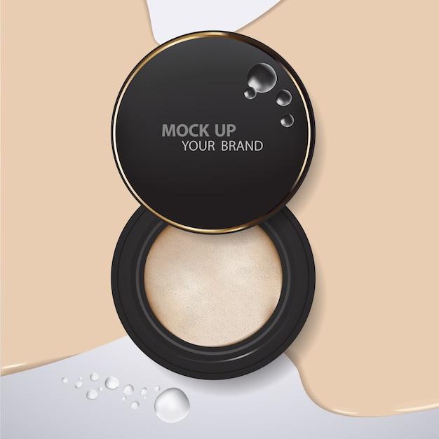 Mock-se modelo de pó de almofada de maquiagem Psd Premium