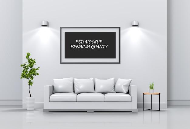 Mock-se moldura de cartaz na sala interior e sofá, render 3d Psd Premium