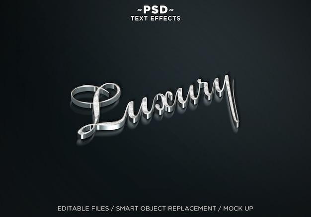 Mock up 3d de luxo prata efeitos de texto editável Psd Premium