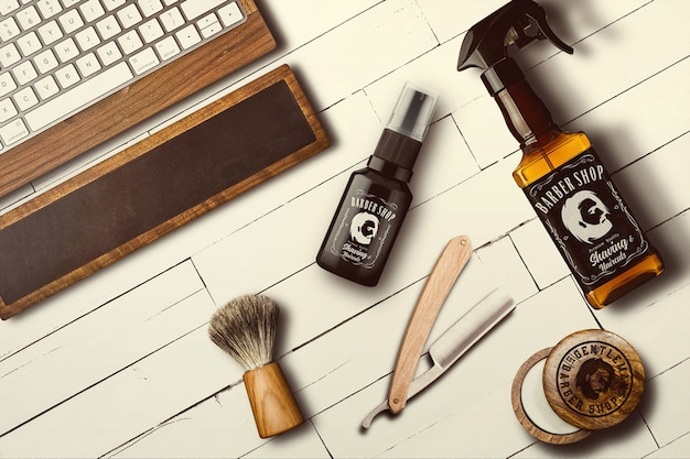 Mock-up de barbearia Psd Premium