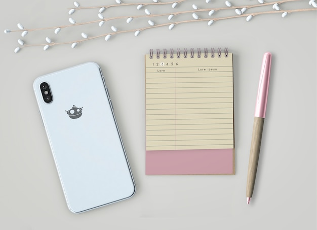 Mock up de notebook e smartphone Psd grátis