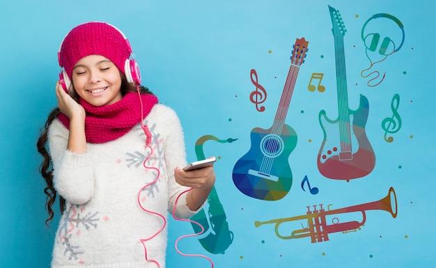 Mock-up dispositivo eletrônico sobre as vendas no inverno Psd grátis