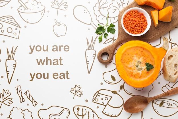 Mock-up mensagem positiva sobre comida Psd grátis