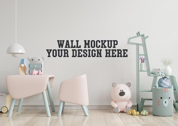 Mock up parede no quarto das crianças com sofá rosa em parede de cor branca clara Psd grátis