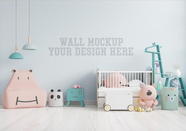 Mock up parede no quarto das crianças com sofá rosa na parede de cor azul claro, renderização em 3d Psd Premium