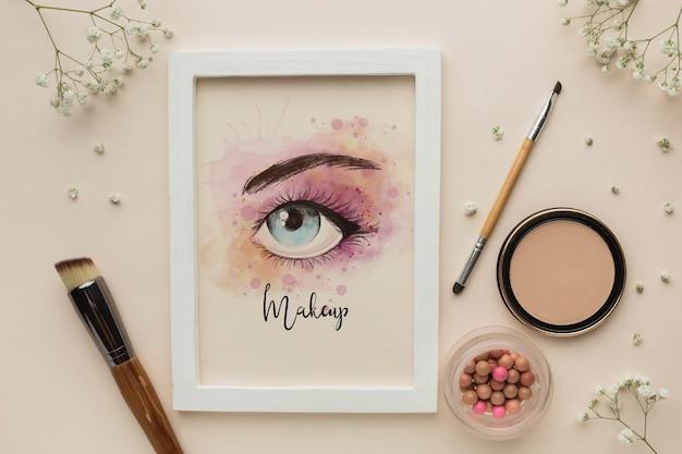 Mock-up tema de maquiagem glamourosa dos olhos Psd grátis