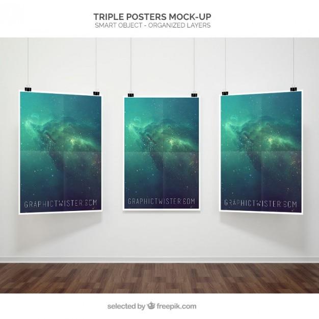 Mockup cartaz triplo Psd grátis