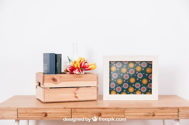 Mockup da primavera com moldura e caixa de madeira Psd grátis