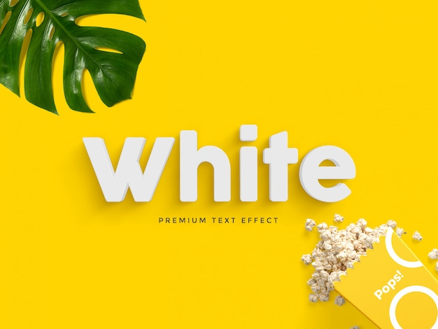 Mockup de efeito de texto 3d branco Psd Premium