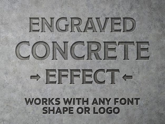 Mockup de efeito de texto de concreto gravado Psd Premium