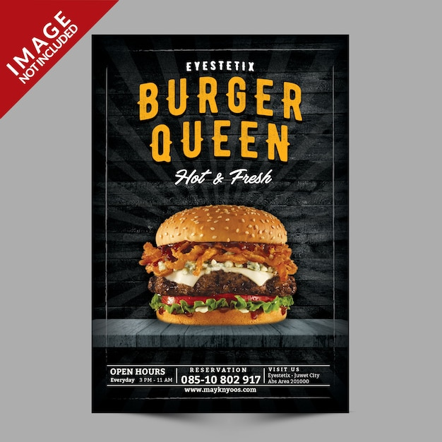 Mockup de panfleto de hambúrguer Psd Premium
