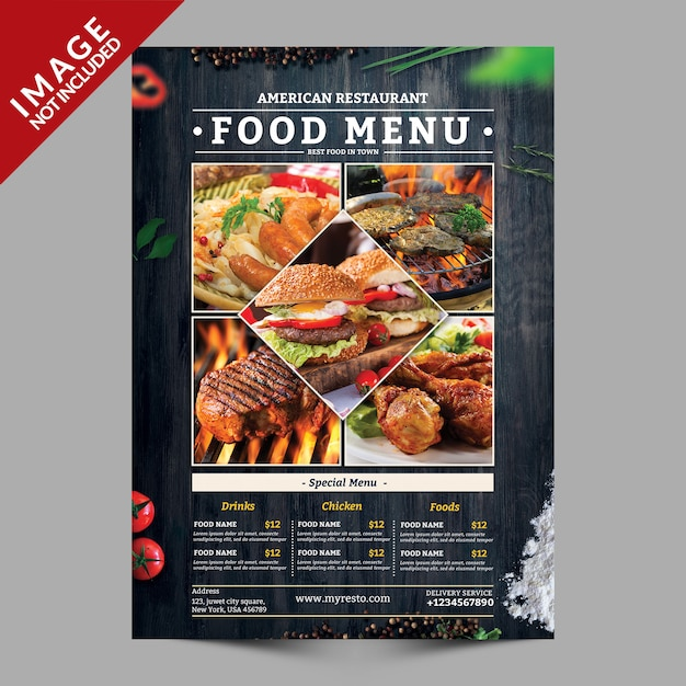 Mockup de panfleto de menu de comida Psd Premium