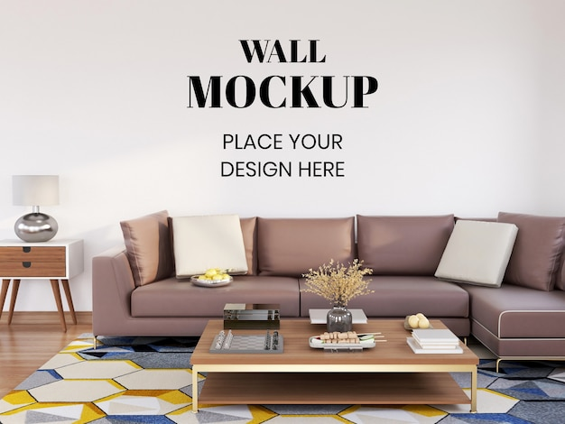 Mockup de parede interior moderno sala de estar com sofá grande Psd Premium