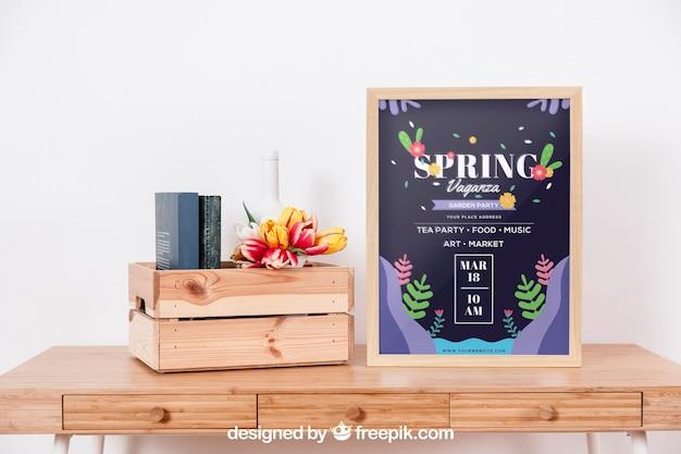 Mockup de primavera com quadro na mesa Psd grátis