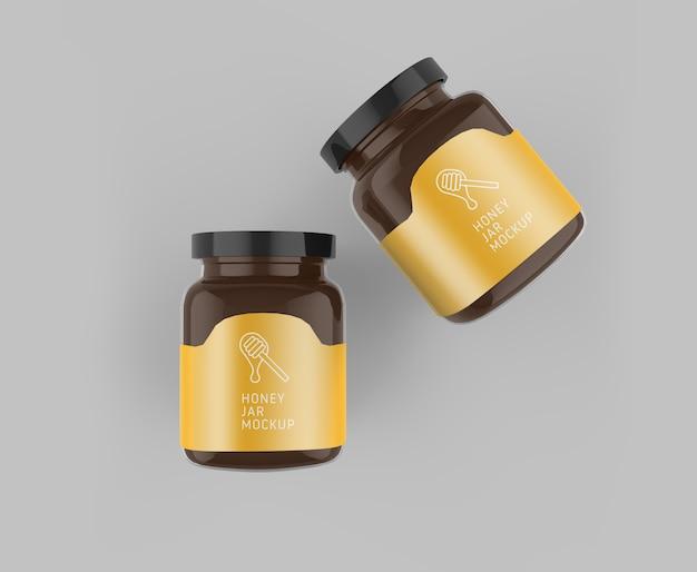 Mockup de vista superior do frasco de vidro de mel Psd Premium