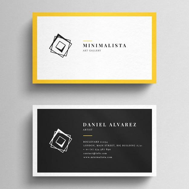 Mockup do cartão de visita com bordas amarelas Psd Premium