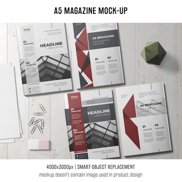 Mockup moderno da revista a5 Psd grátis