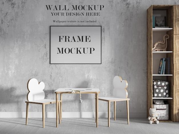 Mockup playroom wall e picture frame design Psd Premium