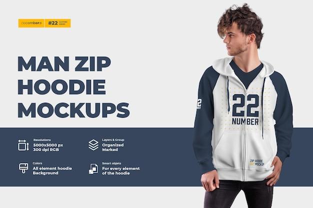 Mockups com capuz e zíper masculino. o design é fácil em personalizar imagens design capuz (torso, capuz, manga, bolso), capuz com cor de todos os elementos, textura urze Psd Premium