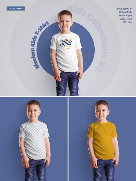 Mockups do t-shirt do menino dos miúdos. o design é fácil de personalizar o design das imagens (na camiseta), a cor da camiseta, a cor de fundo Psd Premium