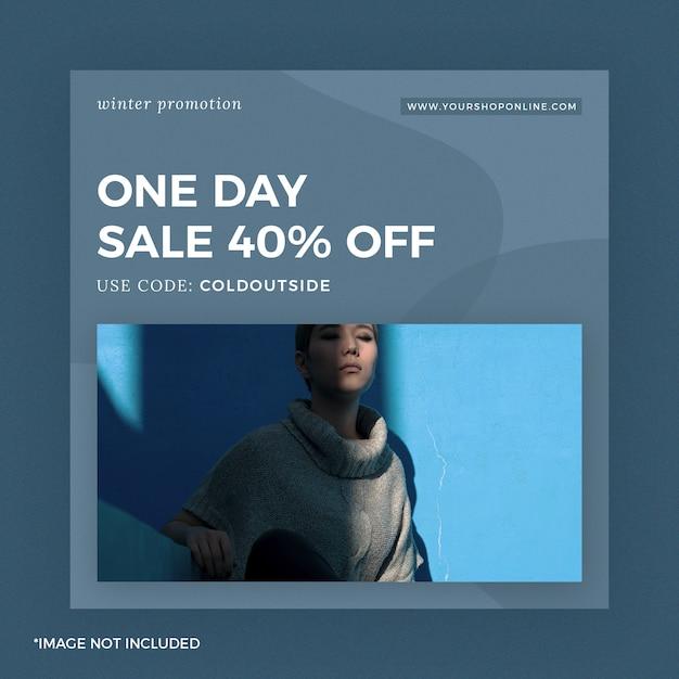 Moda instagram post banner um dia venda azul Psd Premium