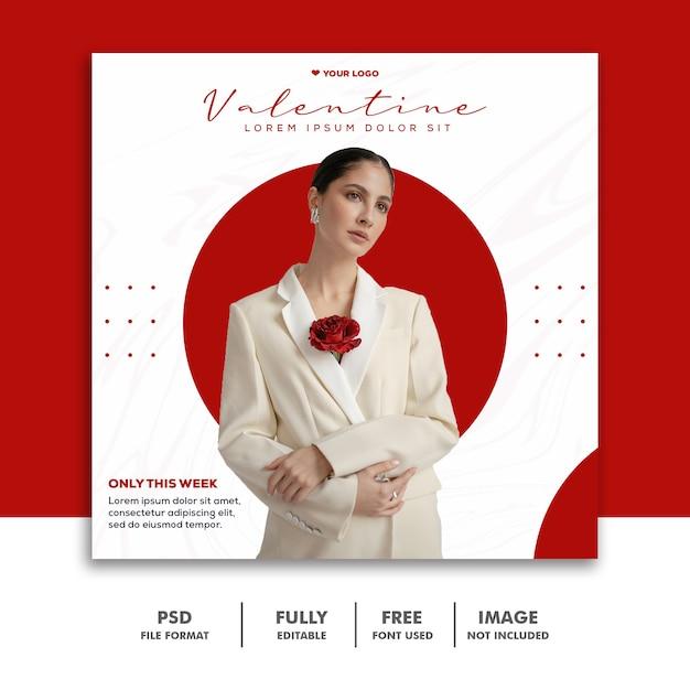 Moda valentine banner mídia social post instagram amor Psd Premium