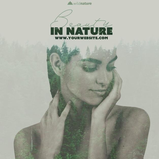 Modelo com design de natureza selvagem Psd grátis