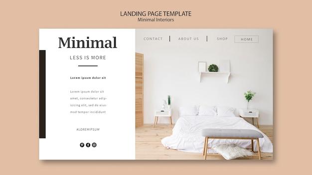 Modelo da web da página de destino de interiores mínimos Psd grátis