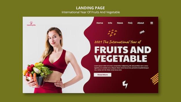 Modelo da web de frutas e vegetais para ano Psd Premium