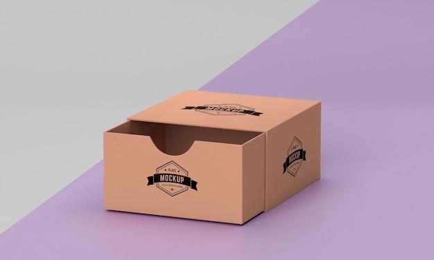 Modelo de alto ângulo da caixa de embalagem Psd grátis