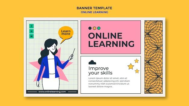 Modelo de anúncio de aprendizado online em banner Psd grátis