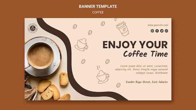 Modelo de anúncio de banner de cafeteria Psd Premium