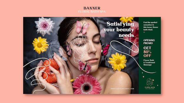 Modelo de anúncio de banner floral spa Psd grátis