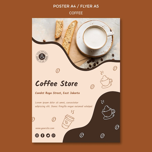 Modelo de anúncio de café em cartaz Psd grátis