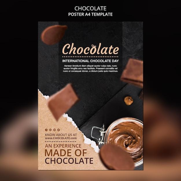 Modelo de anúncio de loja de chocolate em cartaz Psd grátis