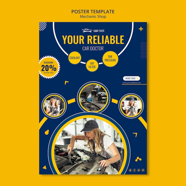 Modelo de anúncio de oficina mecânica de pôster Psd grátis