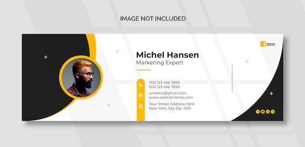 Modelo de assinatura de email ou rodapé de email e design de capa de mídia social pessoal Psd grátis