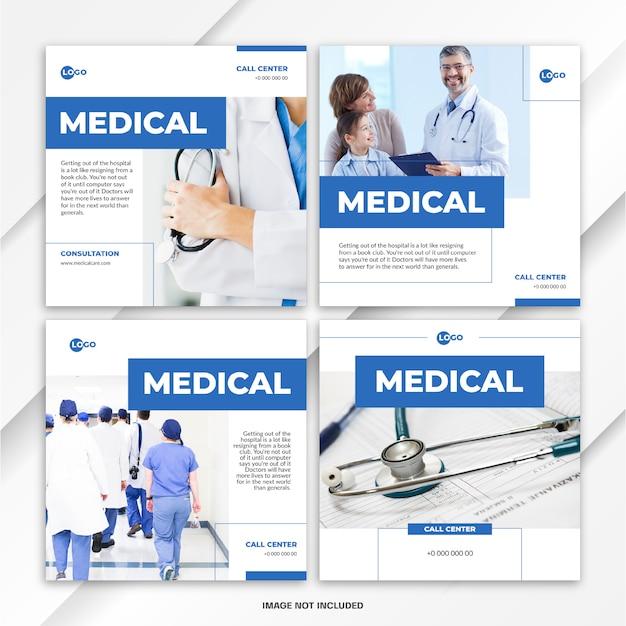 Modelo de assistência médica ao pacote de postagem de feed do instagram Psd Premium