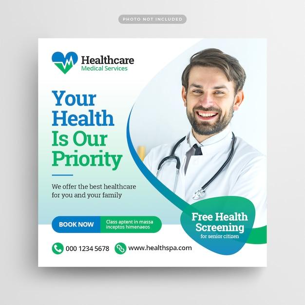 Modelo de assistência médica médica para instagram post Psd Premium