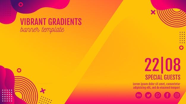 Modelo de banner amarelo de festival de música Psd grátis