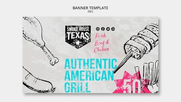 Modelo de banner autêntico american grill Psd grátis