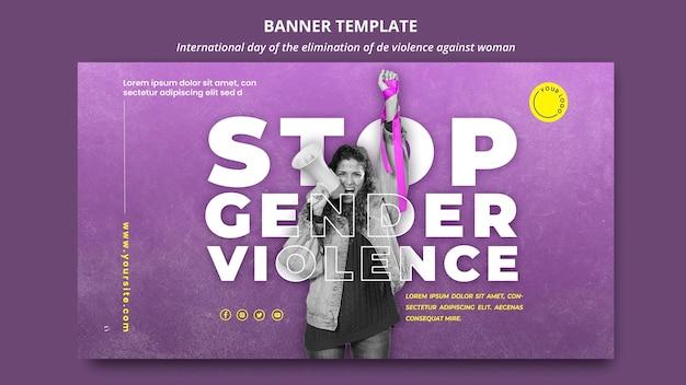 Modelo de banner com foto para acabar com a violência contra mulheres Psd grátis