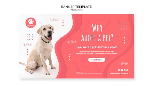 Modelo de banner com tema de animal de estimação adotado Psd grátis