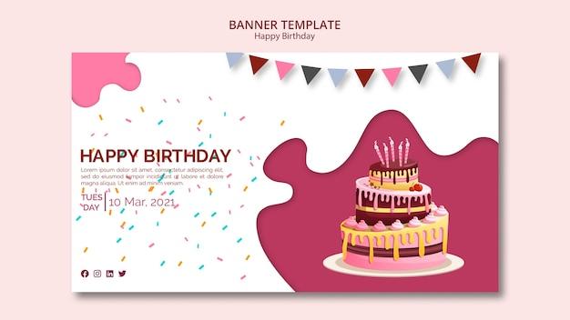 Modelo de banner com tema feliz aniversário Psd grátis