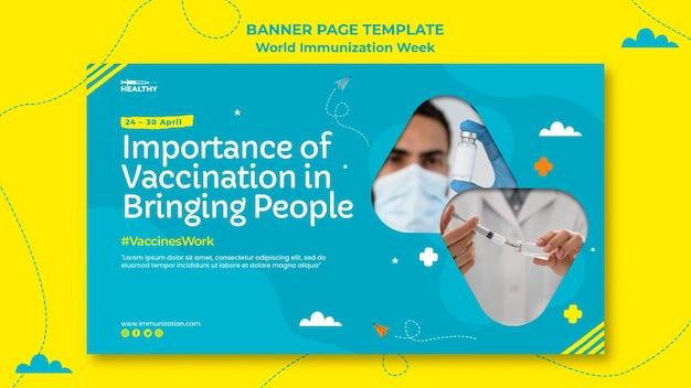 Modelo de banner da semana mundial de imunização Psd Premium