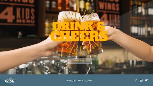 Modelo de banner da web com o conceito de restaurante Psd grátis